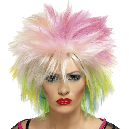 Cute Wig - Blonde & Neon 80's Wig - Women's Fancy Dress Accessories front