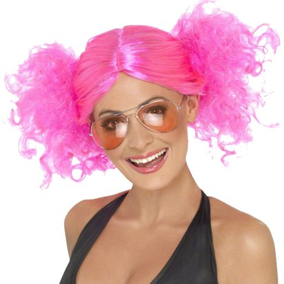 Bunches - Neon Pink 80's Wig - Women's Fancy Dress Accessories front