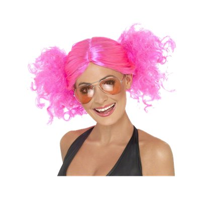 Bunches - Neon Pink 80's Wig - Women's Fancy Dress Accessories pla