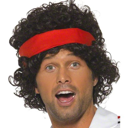 John McEnroe Tennis Player - Black 80's Wig - Men's Fancy Dress Accessories front