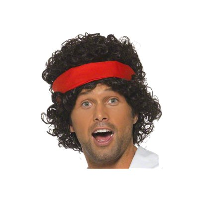 John McEnroe Tennis Player - Black 80's Wig - Men's Fancy Dress Accessories pla