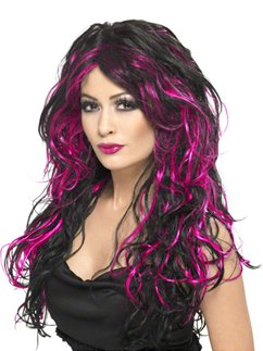Gothic Bride Halloween Wig - Pink & Black