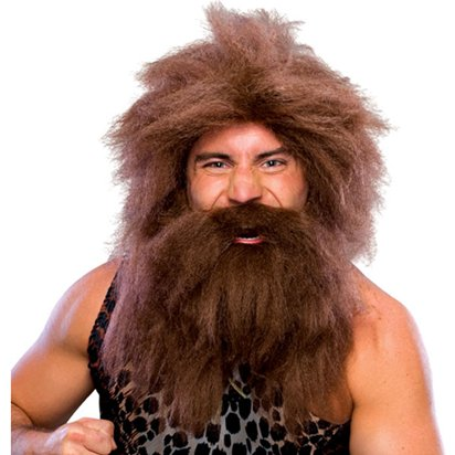 Caveman Wig & Beard Set - Brown - Adults Fancy Dress Wigs front