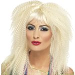 80's Crimped Wig - Blonde