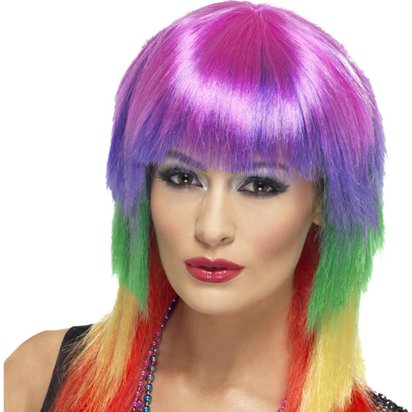 Rocker Wig - Rainbow 80's Wig - Women's Fancy Dress Accessories front