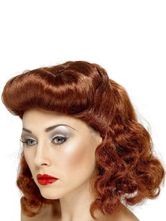 40's Pin Up Girl Wig - Auburn