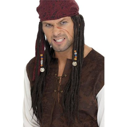 Black Pirate Wig with Scarf- Jack Sparrow Wig - Men's Pirate Fancy Dress Costume Accessories front