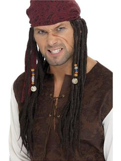 Pirate Wig with Scarf - Black