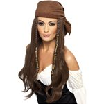 Pirate Brown Beaded Wig