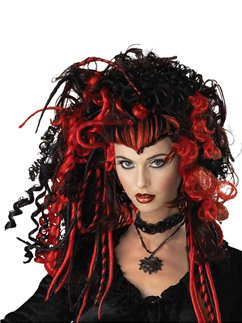 Witch Halloween Wig - Red & Black