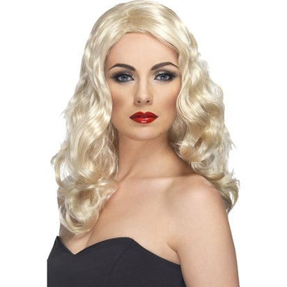 Glamorous Curly Blonde Wig front