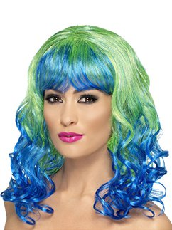 Divatastic Curly Wig - Green & Blue