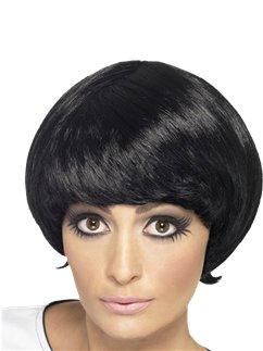 60s Black Psychedelic Mod Wig
