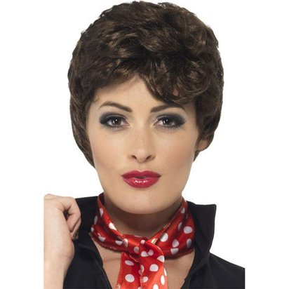 Grease Rizzo Wig - Brown - Adults Fancy Dress Wigs front