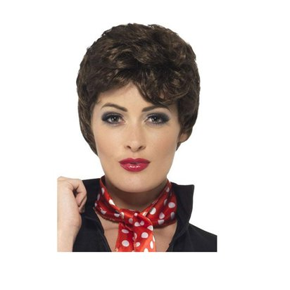 Grease Rizzo Wig - Brown - Adults Fancy Dress Wigs pla