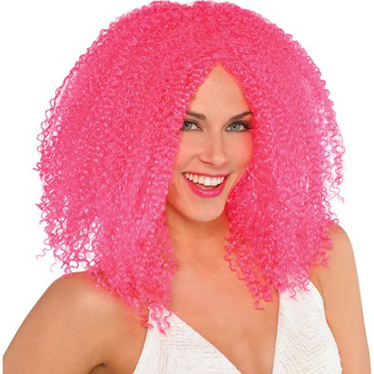 Pink Crimped Clown Wig - Women's Halloween Wig front