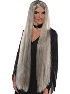 Long Witch Halloween Wig - Grey