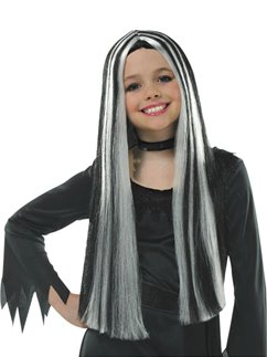 Childs Old Witch Halloween Wig - Black & Grey