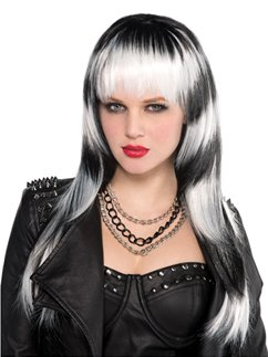 Lethal Passion Halloween Wig - Black & White Streaks