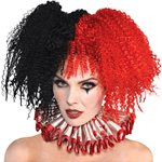 Jesterina Clown Halloween Wig - Red & Black
