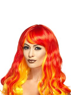 Ombre Halloween Wig - Red & Orange