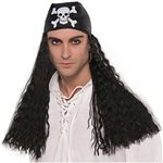 Black Pirate Wig with Bandanna