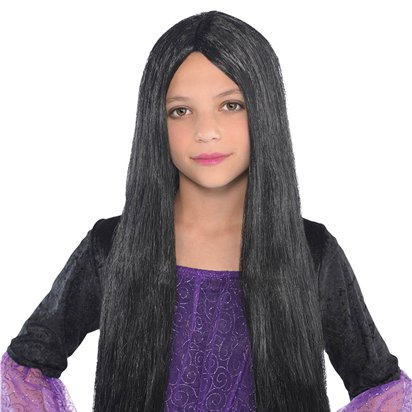 Child's Black Witch Wig - Girl's Halloween Wig front