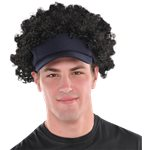 Black Afro Wig with Sun Visor Hat