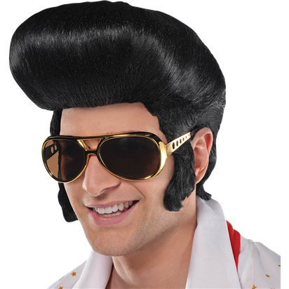 50s Classic King Black Wig - Elvis Presley - The King - Rock n Roll front