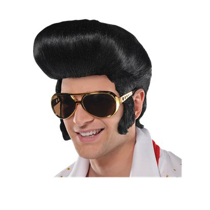 50s Classic King Black Wig - Elvis Presley - The King - Rock n Roll pla