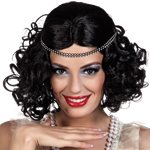 20s Black Wig with Headband