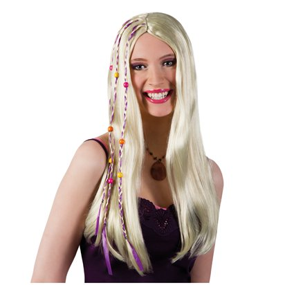 Blonde Braided Hippie Wig - Adult 60's Fancy Dress Accessory front