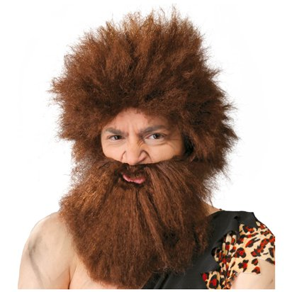 Caveman Wig with Beard - Adult Fancy Dress Accessory  front