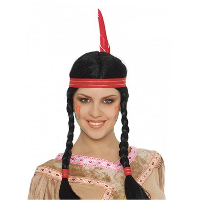 Native American Braided Wig with Feathers  - Adult Fancy Dress Accessory  front