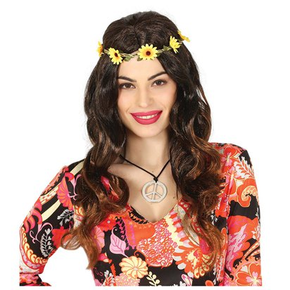 Hippie Wig with Flower Headband  - Adult 60's Fancy Dress Accessory front