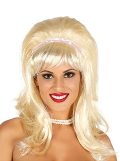 60s Blonde Wig With Ribbon