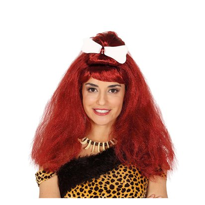 Cavewoman Wig with Bone - Adult Fancy Dress Accessory  front