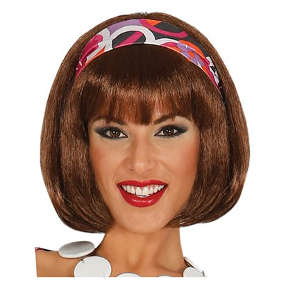 60s Short Brown Wig front