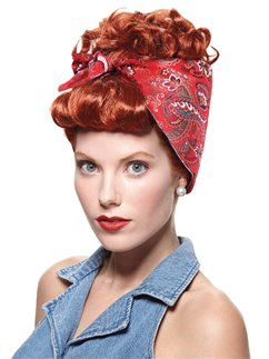 40s Red Riveter Wig