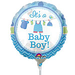 "With Love Baby Boy Mini Balloon - 9"" Foil"