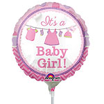 "With Love Baby Girl Mini Balloon - 9"" Foil"
