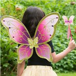 Children's Cerise & Gold Butterfly Wings - 54cm