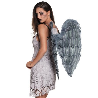 Fallen Angel Grey Wings - 65cm - Halloween Fancy Dress Costume Accessories front