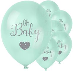 Baby Wishes 'Oh Baby' Mint Balloon - 12
