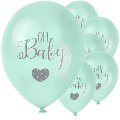"Baby Wishes 'Oh Baby' Mint Balloon - 12"" Latex"
