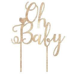 "Baby Wishes ""Oh Baby"" Wooden Cake Topper"