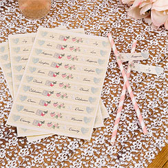 With Love Wedding Flags for Straws