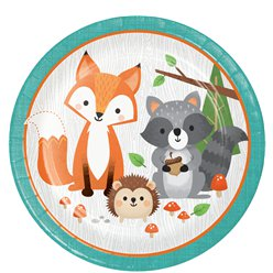 Woodland Animals Paper Lunch Plates  - 23cm
