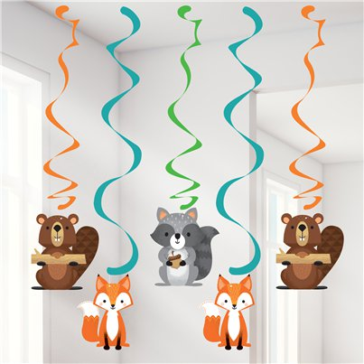 Woodland Animals Hanging Swirls