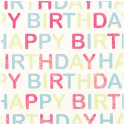 Glitter Pastel Happy Birthday - Sheet of Gift Wrap